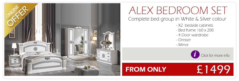 Alex Italian Bedroom Set White Silver