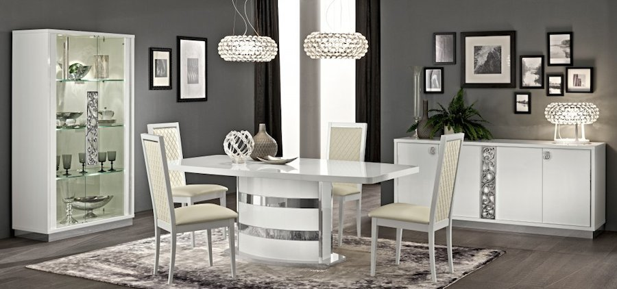 White high gloss dining furniture set
