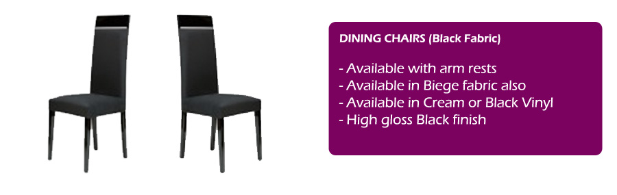 Savina Black dining furniture high gloss EM Italia : Black Dining chairs spec from emitalia.co.uk size 900 x 285 jpeg 47kB