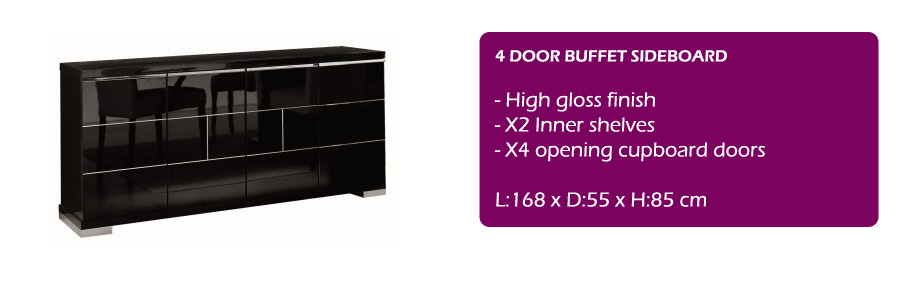 Savina Black dining furniture high gloss EM Italia : black sideboard spec from emitalia.co.uk size 900 x 285 jpeg 45kB