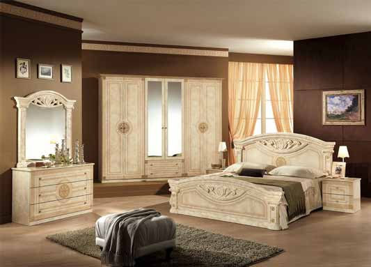 Roma beige italian bedroom set and suite em italia for Chambre a coucher kolea facebook