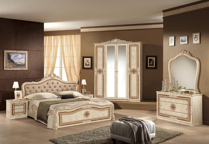 Lisa beige classic Italian bedroom set and suite  EM Italia