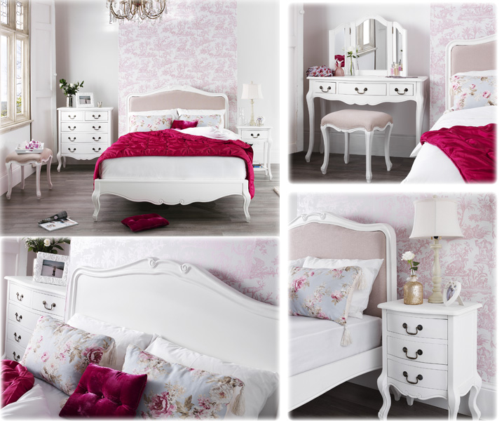 French shabby chic bedroom furniture set em italia White shabby chic bedroom furniture