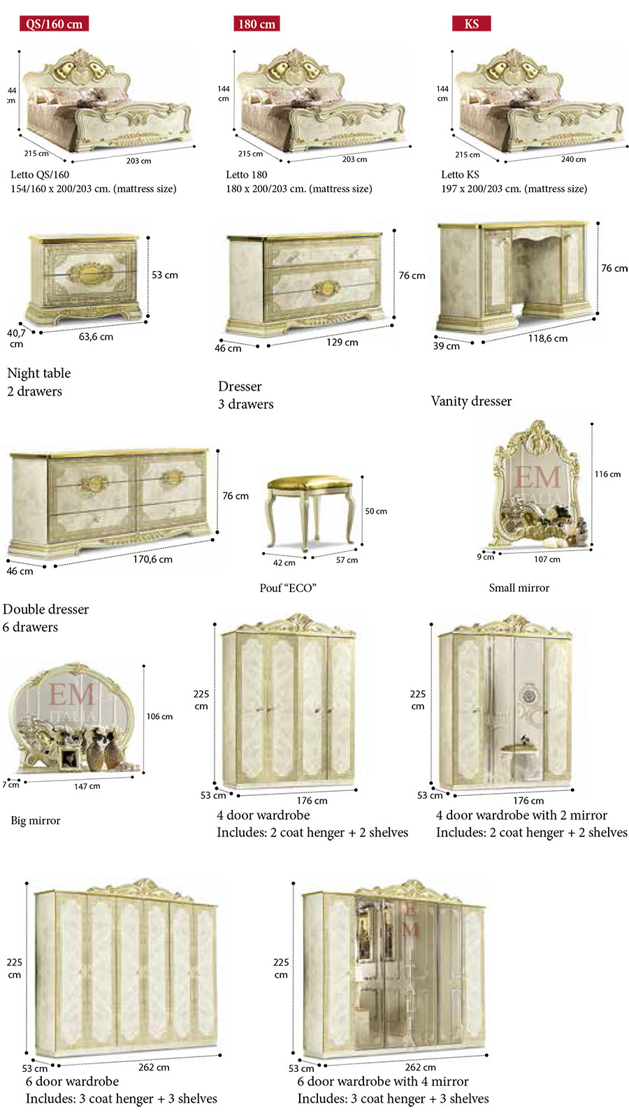 Classic Italian Bedroom Furniture Items