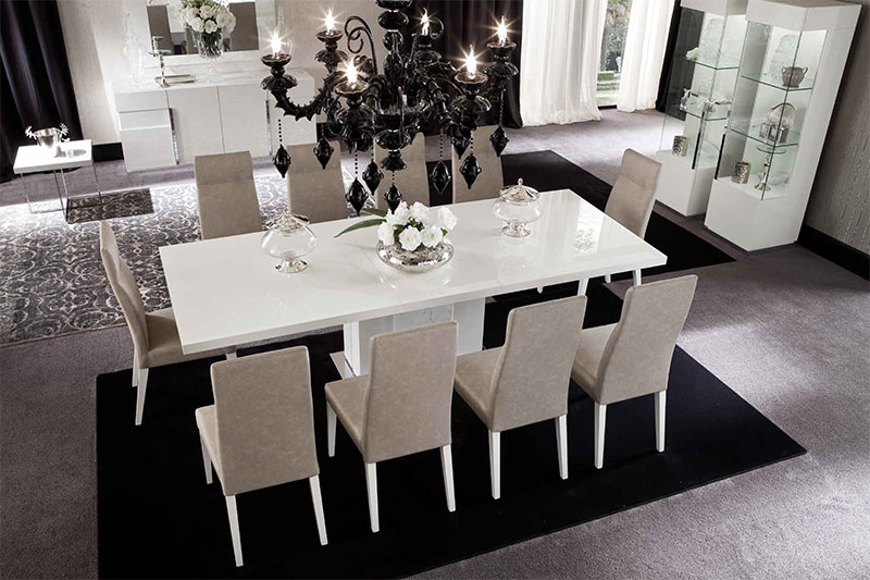 Italian High Gloss Furniture White Dining Room