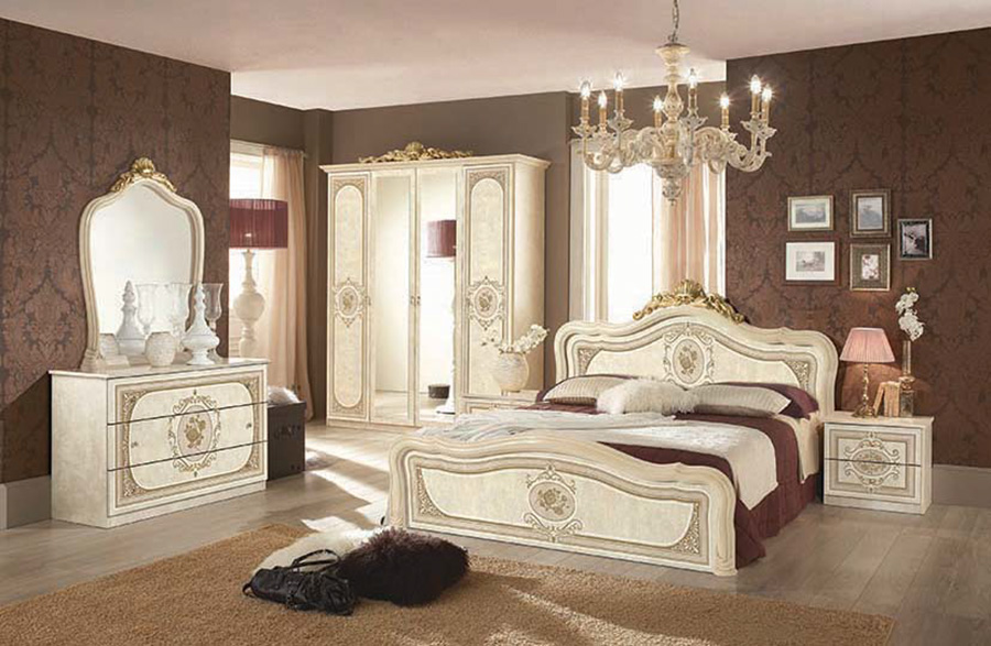 Classic italian bedroom furniture set ivory beige for Z bedroom furniture