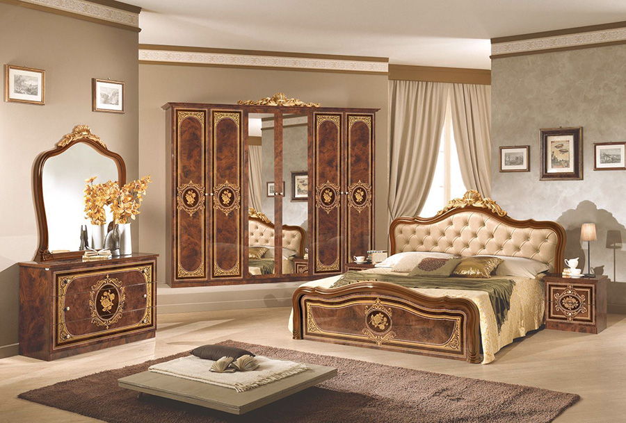 Walnut classic italian bedroom furniture set lisa for Italian bedroom furniture