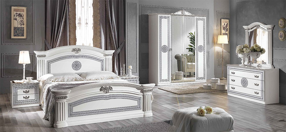 Alex classic italian bedroom furniture set white for Italian bedroom furniture