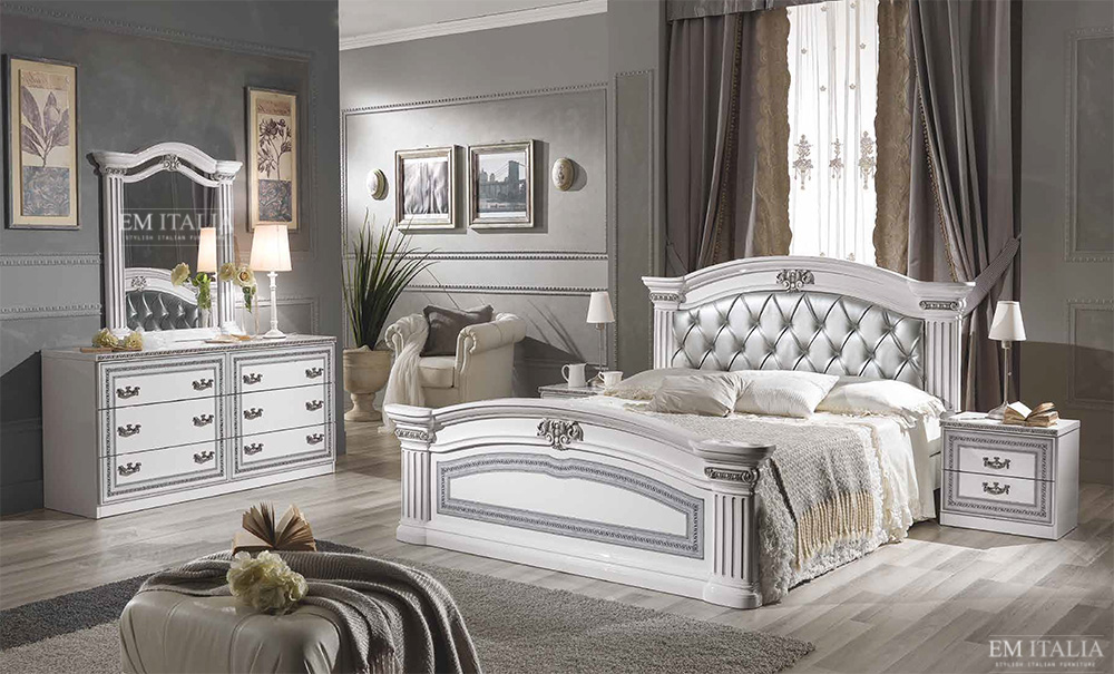 Classic italian bedroom furniture set. Alex Classic Italian Bedroom Furniture Set   White   Silver